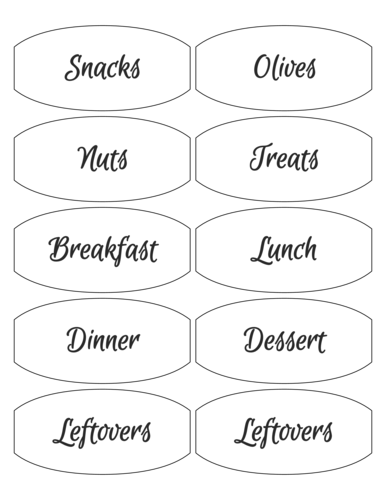 Meal Prep Container Labels Printable