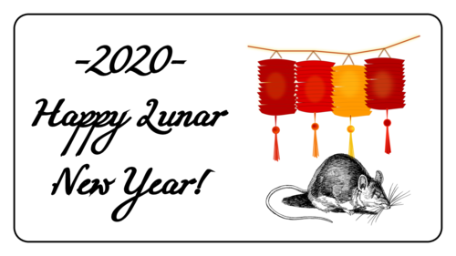 """Year Of The Rat"" Chinese New Year Label"