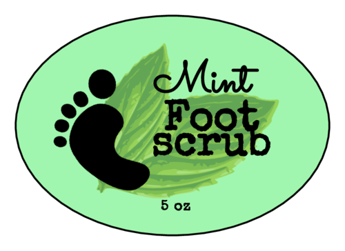 Youthful Mint Foot Scrub Label
