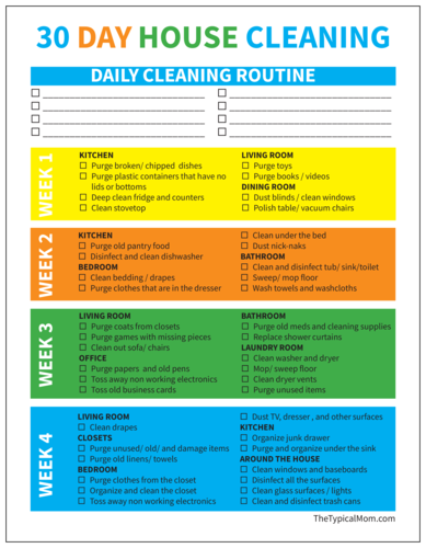 30 Day House Cleaning Checklist Label