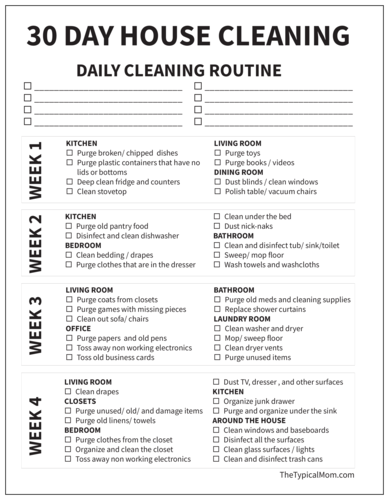 Black & White 30 Day House Cleaning Checklist Label