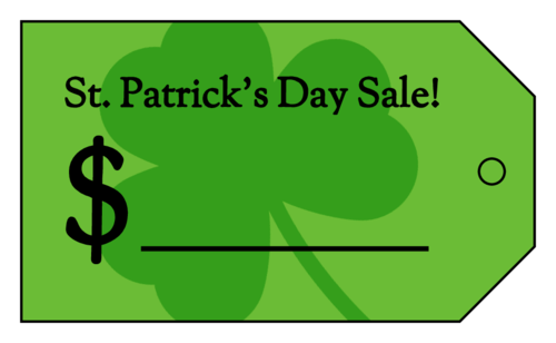 St Patrick's Day Sale Cardstock Price Tag