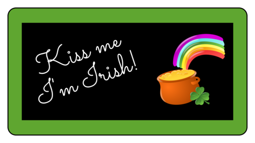 """Kiss Me I'm Irish"" Pot of Gold Sticker"