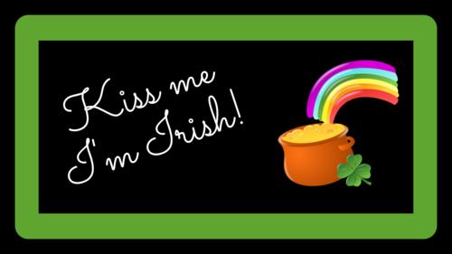 """""""Kiss Me I'm Irish"""" Pot of Gold Sticker"""