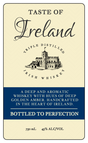 """A Taste of Ireland"" Whiskey Bottle Labels"