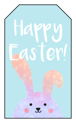 """Happy Easter"" Floppy Bunny Gift Tag"