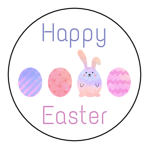 """Happy Easter"" Eggs & Bunny Label"