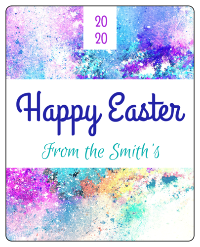 Paint Splatter Easter Wine Bottle Label