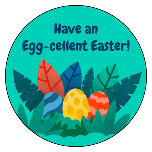"Have An Egg-Cellent Easter"" Sticker - OnlineLabels.com"