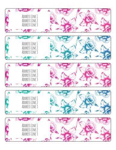 Floral Wrap Around Address Labels