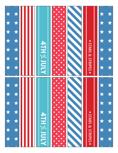 Assorted Fourth of July Wrap Around Straw Flag Labels