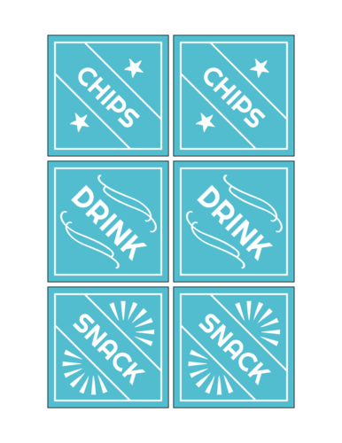 Fourth of July Food Labels, Assorted
