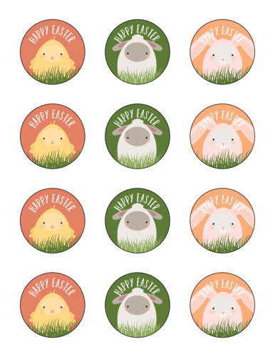 Assorted Easter Friends Labels Printable