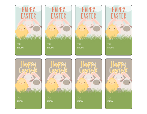 Easter Animal Friends Gift Tags Printable