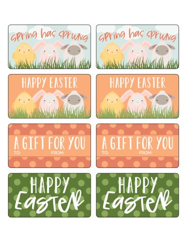 Easter Animal Friends Gift Labels Printable