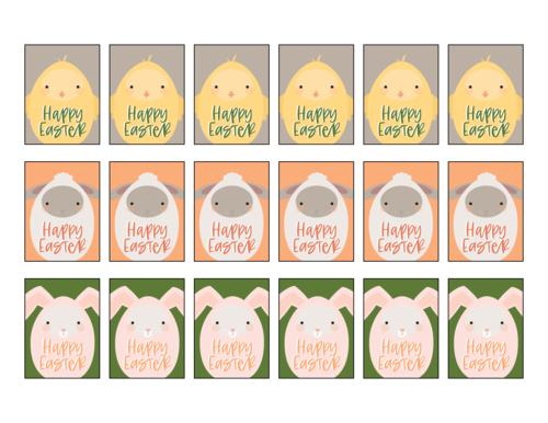 Assorted Easter Friends Decorative Gift Labels Printable