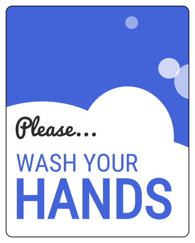 """Please Wash Your Hands"" Sudsy Label"