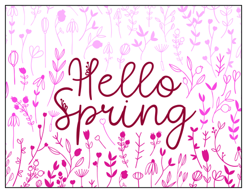"""Hello Spring"" Cheerful Notecard"