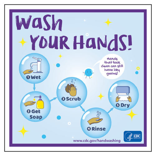 """Wash Your Hands!"" CDC Hand Washing Awareness Label"