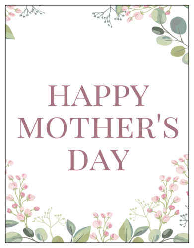"""Happy Mother's Day"" Floral Cardstock Notecard"