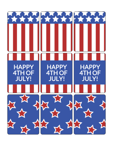 4th of July Firecracker Candy Favor Label