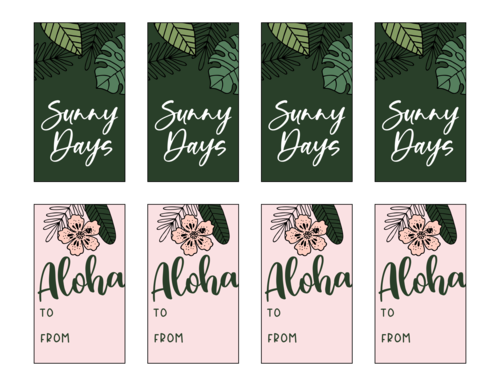 Tropical Florid Assortment of Gift Tag Labels