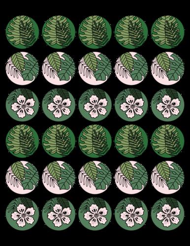 Tropical Florid Assortment Circle Labels