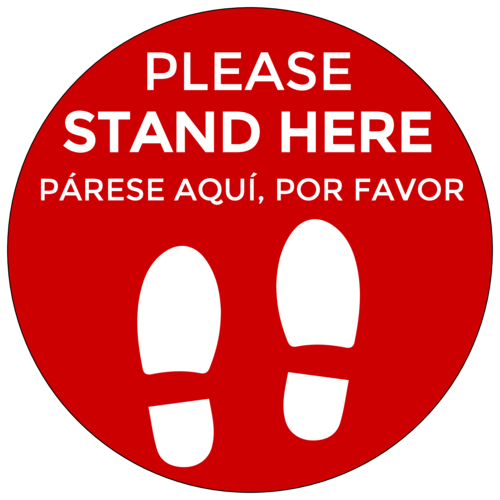 """Please Stand Here"" English and Spanish Social Distancing Floor Decals"