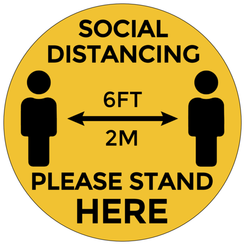 """Social Distancing, Please Stand Here"" Illustrated Floor Labels"