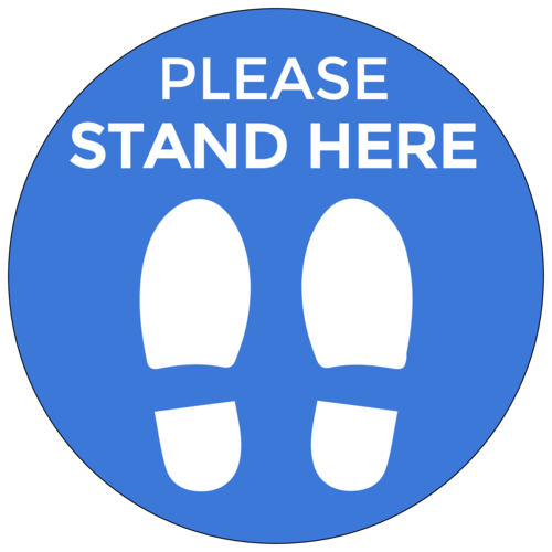 """Please Stand Here"" Social Distancing Floor Decals"