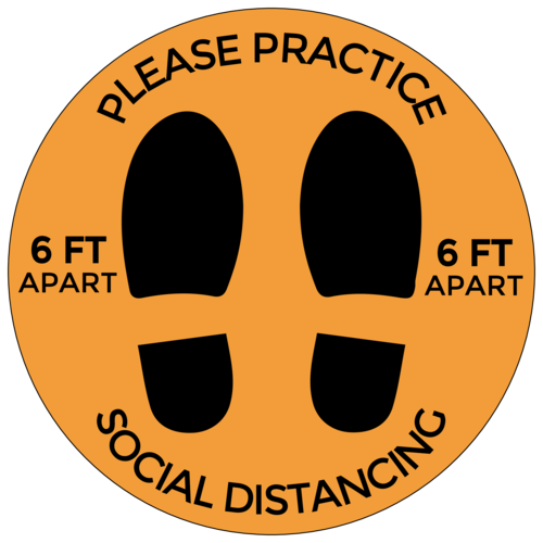 """Please Practice Social Distancing"" Shoe Print Floor Decal"