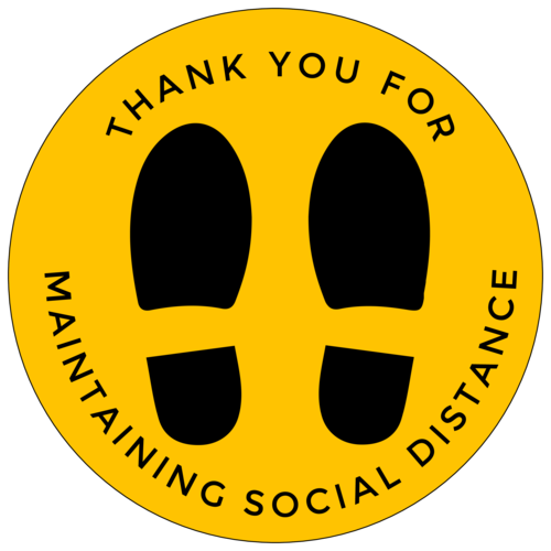 """Thank You For Maintaining Social Distance"" Floor Decal Labels"