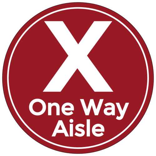 "Red ""One Way Aisle"" Shopping Floor Decal"