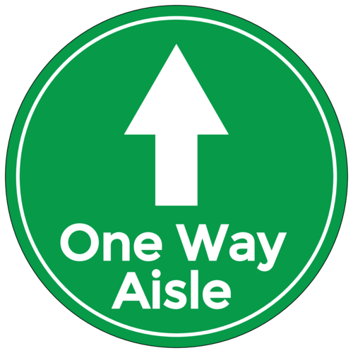 "Green ""One Way Aisle"" Shopping Floor Decal"