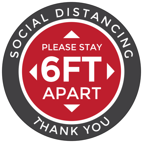 """Please Stay 6 Feet Apart"" Social Distancing Floor Decal"