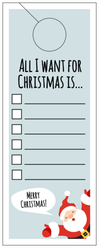 """All I want for Christmas is..."" Cardstock Christmas List Door Hanger"