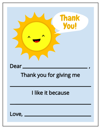 Children's Write-In Thank You Note