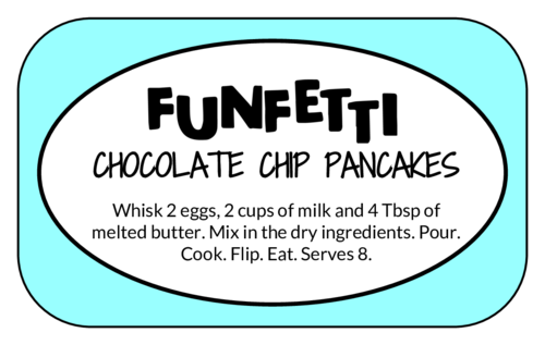 Funfetti Chocolate Chip Pancakes Recipe Label