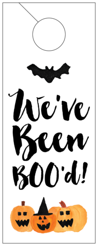 """We've Been Boo'd"" Halloween Gift Cardstock Door Hangers"