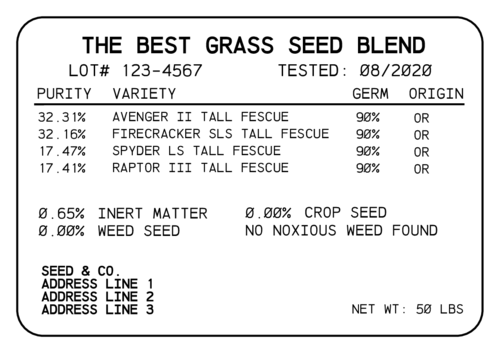Grass Seed Bag Label