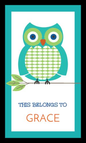 """This Belongs To"" Owl School Supplies Label"
