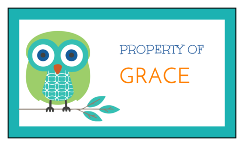 """Property of"" Owl School Supplies Label"