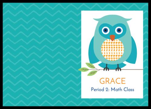 Owl School Supplies Composition Book Label