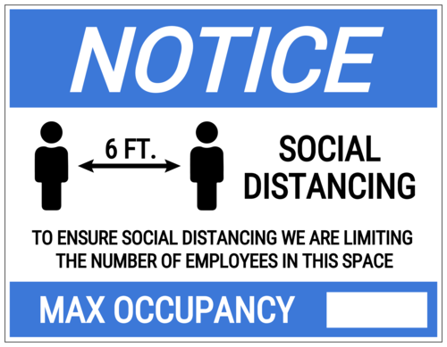 """Max Occupancy"" Full Sheet Notice Label"