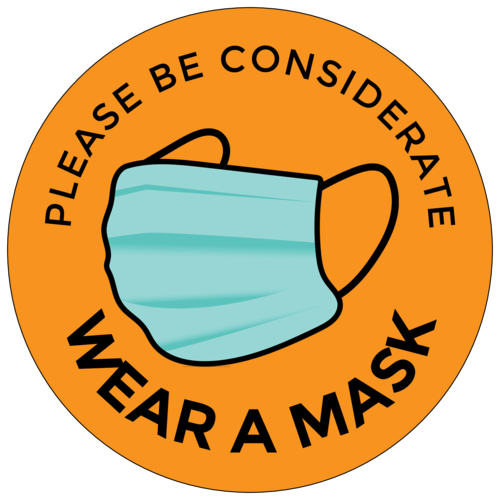 """Please be Considerate, Wear a Mask"" Label"