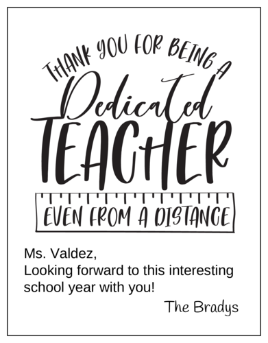Socially Distanced Teacher Thank You Card