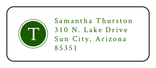 Outlined Initial Address Label