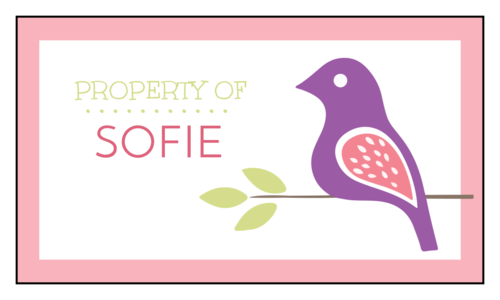 "Pastel Bird ""Property of"" School Supply Label"