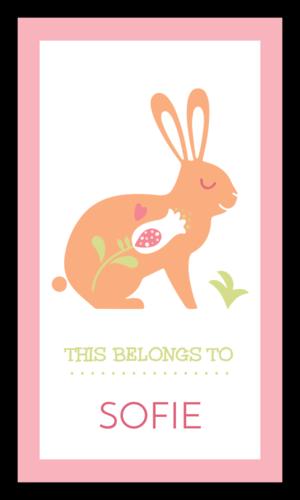 """This Belongs To"" Pastel Rabbit School Supply Label"