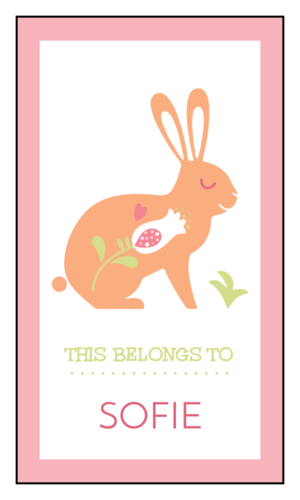 """This Belongs To"" Pastel Rabbit School Supply Label"